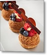 Berries And Cream Choux By The Famous Metal Print