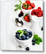 Berries In Bowls  On Wooden Background. Metal Print