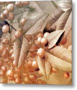 Berry And Leaf Brocade Metal Print