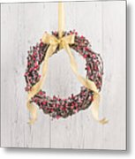 Berry Decorated Wreath Metal Print