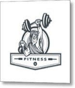 Berserker Lifting Barbell Kettlebell Fitness Circle Retro Metal Print