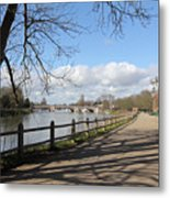 Beside The Thames At Hampton Court London Uk Metal Print