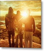 Best Friends Greeting The Sun Metal Print