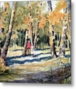 Walking With A Friend Metal Print
