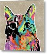 Best Listener Kitty- Pop Art By Linda Woods Metal Print
