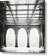 Bethesda Terrace In Black And White Metal Print