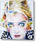 Bette Davis - Watercolor Portrait Metal Print