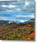 Between The Clouds Blue Ridge Parkway North Carolina Art Metal Print