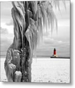 Beyond The Ice Reaper's Grasp -  Menominee North Pier Lighthouse Metal Print