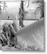 Beyond The Icy Gate - Menominee North Pier Lighthouse Metal Print