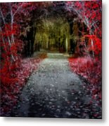 Beyond The Red Leaves Metal Print