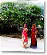 Bff Best Friends Pregnant Women Portrait Village Indian Rajasthani 1 Metal Print