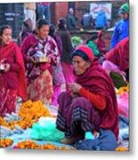 Bhaktapur Holi Market Metal Print