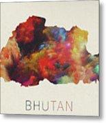 Bhutan Watercolor Map Metal Print
