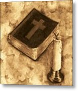 Bible And Candle Metal Print