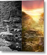 Bible - Psalm 23 - Yea, Though I Walk Through The Valley 1920 - Side By Side Metal Print