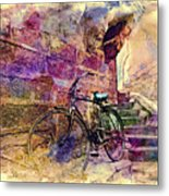 Bicycle Abandoned In India Rajasthan Blue City 1a Metal Print