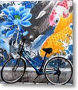 Bicycle Against Mural Metal Print