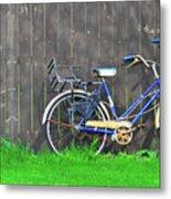 Bicycle And Gray Fence Metal Print