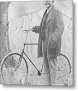 Bicycle And Jd Rockefeller Vintage Photo Art Metal Print