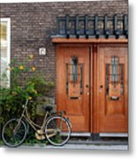 Bicycle And Wooden Door Metal Print