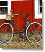 Bicycle In Front Of Red House In Sweden Metal Print
