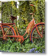 Bicycle In The Garden Metal Print