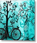 Bicycle In Whimsical Forest Metal Print