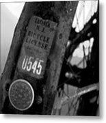 Bicycle License Metal Print