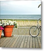 Bicycle On The Ocean City New Jersey Boardwalk. Metal Print