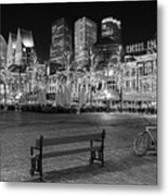 Bicycle On The Plein At Night - The Hague  Metal Print