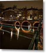 Bicycle Parked At The Canals Metal Print