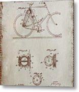 Bicycle Patent Drawing 4a Metal Print