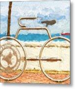 Seaside Bicycle Stand Metal Print