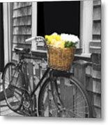 Bicycle With Flower Basket Metal Print