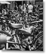 Bicycles Amsterdam Black And White Metal Print