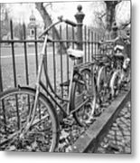 Bicycles Parked At Fence On Street, Netherlands Metal Print