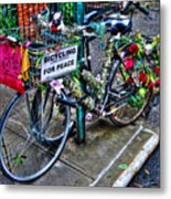 Bicycling For Peace Metal Print
