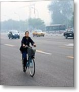 Bicyclist In Beijing Metal Print