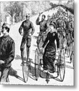 Bicyclist Meeting, 1884 Metal Print