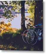 Bicyles By The Lake  Metal Print