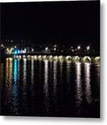 Bideford Long Bridge At Night Metal Print