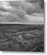 Big Badlands Overlook Panorama 2 Bw Metal Print