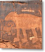 Big Bear Petroglyph Metal Print