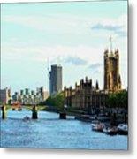 Big Ben, Parliament And River Thames Metal Print