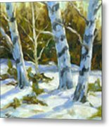 Big Birches In Winter Metal Print