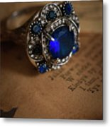Big Blue Ornamented Ring Metal Print