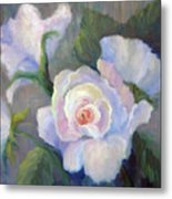Big Blushing Rose Metal Print