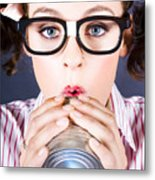 Big Business Kid Making Phone Call With Tin Cans Metal Print