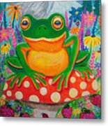 Big Green Frog On Red Mushroom Metal Print